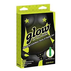 GLOW IN THE DARK VIBRATING CROTCHLESS PANTY AND PASTIES SET STARS