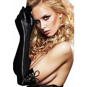 LONG WETLOOK ZIPPER GUANTES LARGOS
