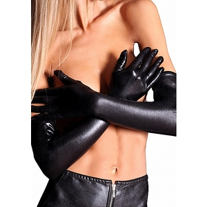 LONG WETLOOK GUANTES LARGOS NEGRO