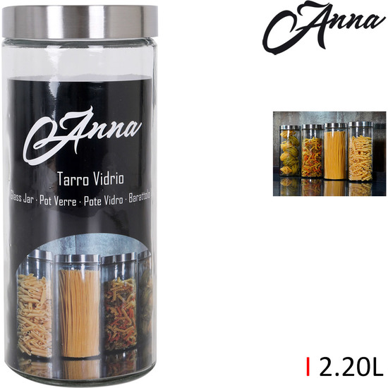 TARRO VIDRIO TAPA ACERO 2.20LT. ANNA