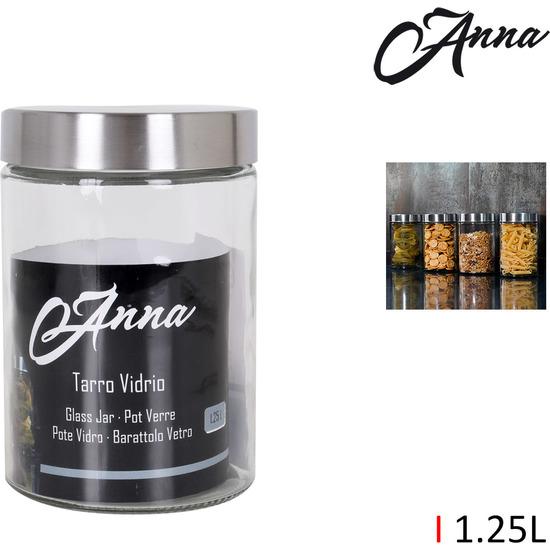 TARRO VIDRIO TAPA ACERO 1.25LT. ANNA