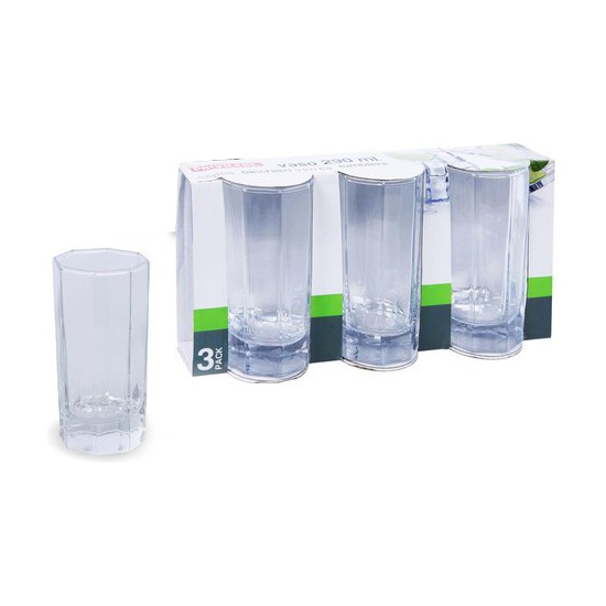 VASO AGUA PACK-3, PRIVILEGE, 290ML.