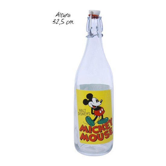 BOTELLA VIDRIO MICKEY MOUSE, DISNEY, 32,5CM.