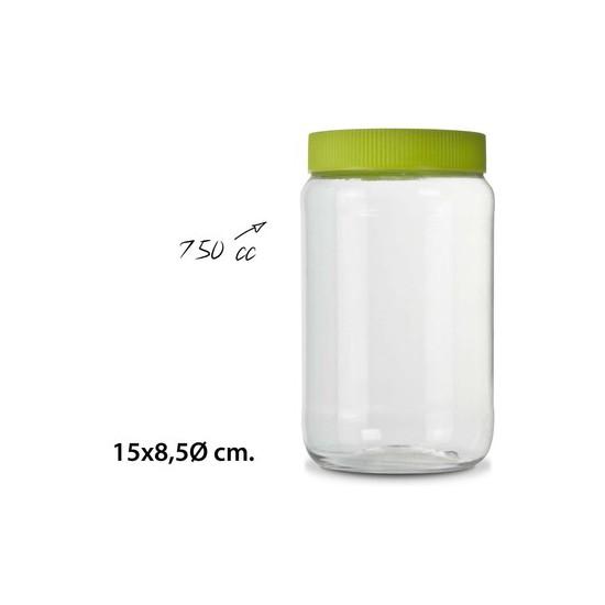 TARRO  CON TAPA, USE PLASTICOS, -PET-, 750CC.
