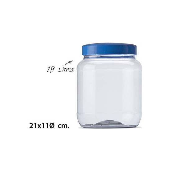 TARRO CON TAPA PET, USE PLASTICOS, 1,9L.