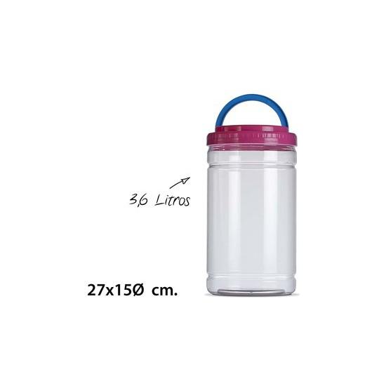 TARRO CON ASA CILINDRICO, USE PLASTICOS, 3,6L.