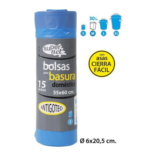 BOLSA BASURA AUTO-CIERRE 15UDS, SUPERNET, 55X60CM.