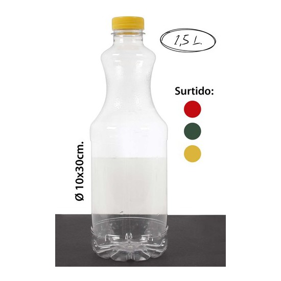 BOTELLA PET -1285-B SURTIDO COLORES, WAT, 1,5L.