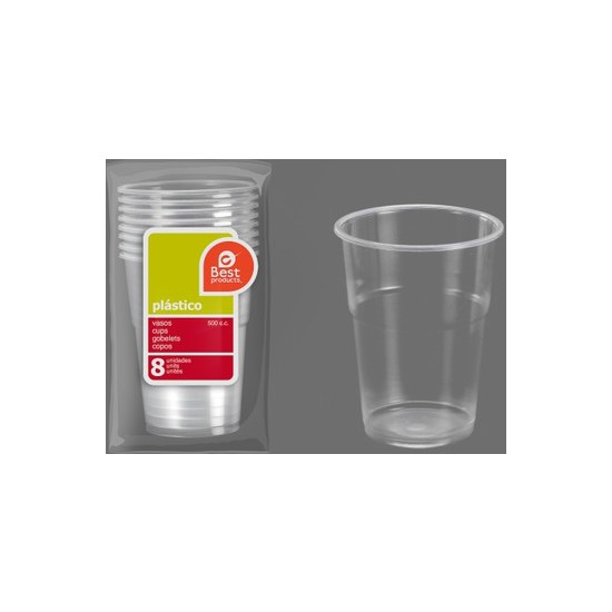VASO PLÁSTICO IRROMPIBLE 500CC., BEST PRODUCTS, 8UDS.