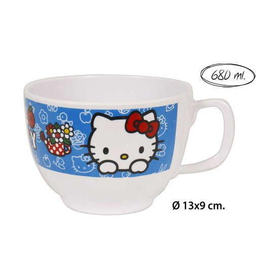 TAZA JUMBO MELAMINA, HELLO KITTY, 680ML.