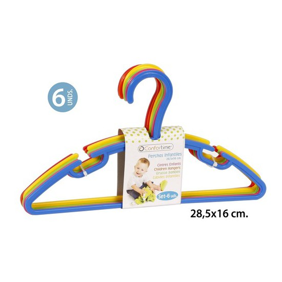 PERCHAS PLÁSTICO INFANTIL  28,5X16CM., CONFORTIME, 6UDS.