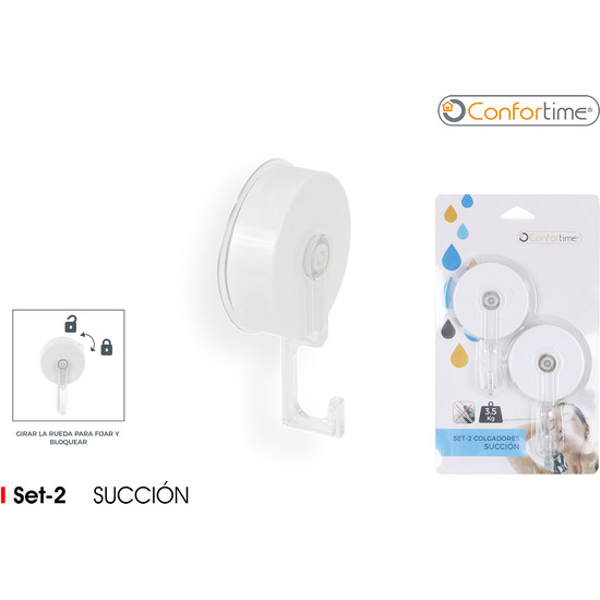 SET2 COLGADOR SUCCION ABS WHITE
