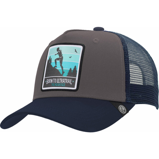 GORRA TRUCKER BORN TO ULTRATRAIL GRIS THE INDIAN FACE PARA HOMBRE Y MUJER