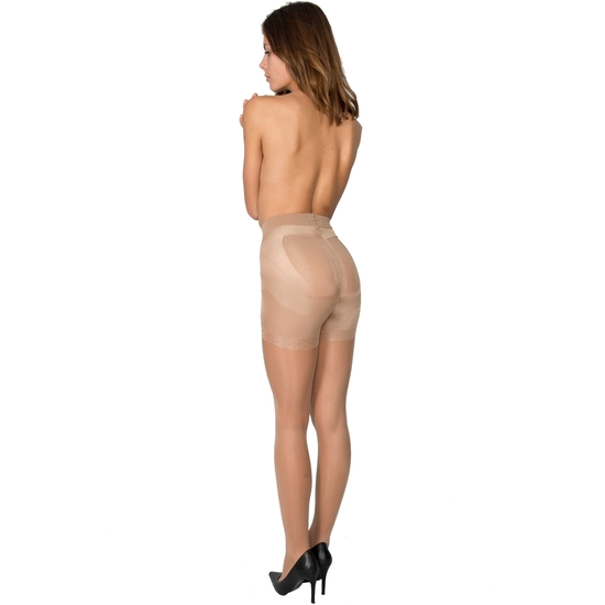 PANTY LICRA 40 DEN REDUCTOR PUSH UP LOTE DE 2 COLOR BEIGE (L - )