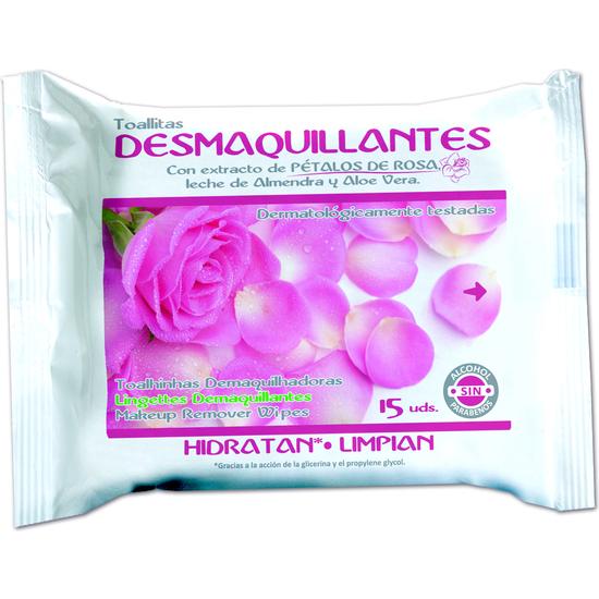 TOALLITAS DESMAQUILLADORAS PETALOS DE ROSAS 15UD