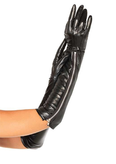 LEG AVENUE GUANTES ALTOS CON CREMALLERA EFECTO PIEL (TALLA M/L) (COD. 70750)