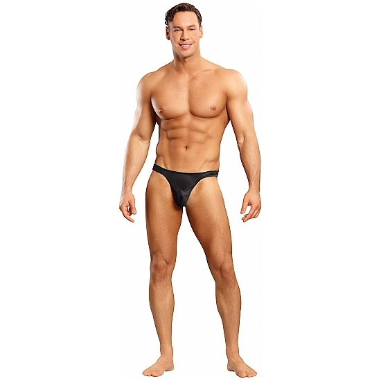 MALE POWER TANGA NEGRO SATINADO (TALLA L/XL) (COD. 74425)