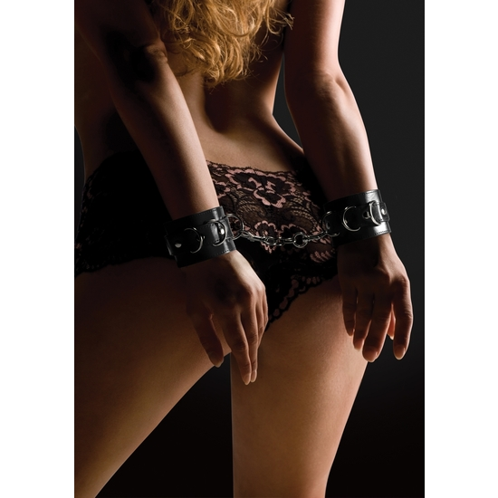 OUCH LEATHER CUFFS FOR HAND AND ANKLES BLACK