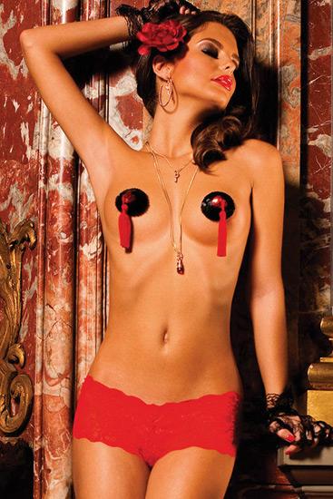 Baci braguita short de encaje rojo