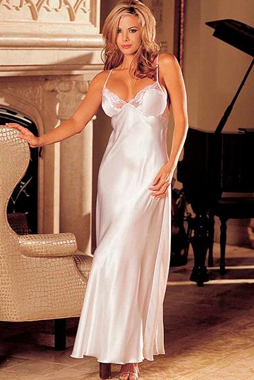 Camison de seda largo y encaje blanco