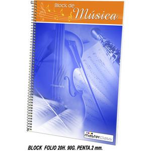 BLOCK MÚSICA FOLIO 20 HOJAS PENTAGRAMA 2MM., MASTERCLASS, 90GRS.