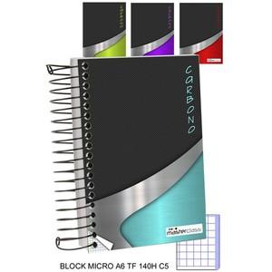 BLOCK CUADRICULA 5MM TAPA FUERTE MICRO 140 HOJAS, MASTERCLASS, -CARBONO-, A6
