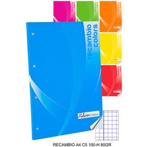 RECAMBIO CUADRICULA 5MM 100 HOJAS 80 GRAMOS, MASTERCLASS, -COLORS-, A4