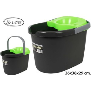 CUBO OVAL CON ESCURRIDOR GREEN, AQUAPRO, 16L.