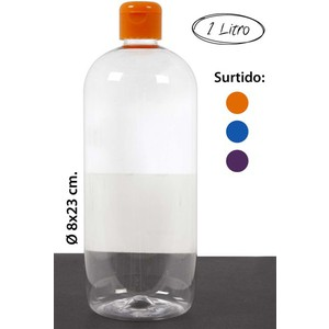 BOTELLA PET TAPÓN FLIP-TOP -1325 SURTIDO COLORES, WAT, 1L.