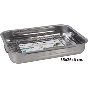 ASADORA RECTANGULAR CON GRILL INOXIDABLE, STEEL PAN, 35CM.
