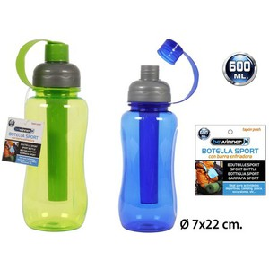 BOTELLA SPORT TAPÓN PUSH COLOR SURTIDO, BEWINNER, 600ML.