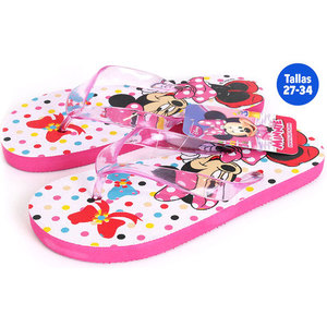 CHANCLAS PLAYA MINNIE MOUSE ROSA / BLANCO