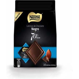 LAMINAS DE CHOCOLATE NEGRO AL 70% DE CACAO 16 UNIDADES