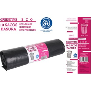 10 SACOS BASURA 85x105-G200-100 L. GREENTIME ECO