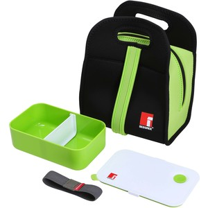 SET BENTO BOX 1000ML +BOLSA ISOTÉRMICA NEOPRENO NEGRO/VERDE WALKING BUSINESS