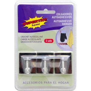 SUPERTITE COLGADOR ADHESIVO INOX 3 UDS