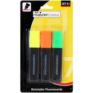 SET 3 ROTULADORES FLUORESCENTES COLORES SURTIDOS
