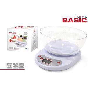 BÁSCULA COCINA DIGITAL 5KG C/BOL BASIC HOME