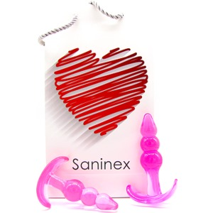SANINEX PLUG INITIATION 3D PLEASURE - ECONOMIC LINE - ROSA
