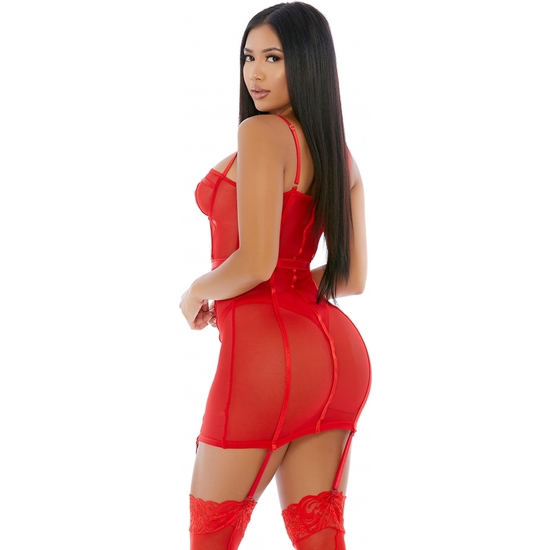 SHEER DESIRES MESH CONJUNTO ROJO (PEQUE�A - )