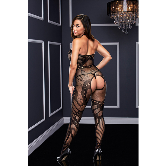 CROTCHLESS JACQUARD BODYSTOCKING - BODY MALLA (1)