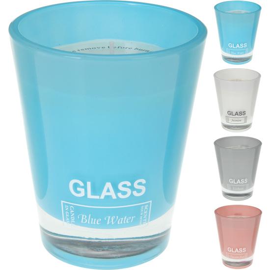 VELA GRANDE PERFUMADA GLASS BLUE WATER