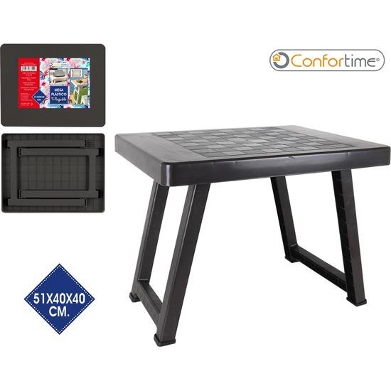 Mesa pl stico plegable wenge 51x40x40cm confortime for Mesa plegable plastico