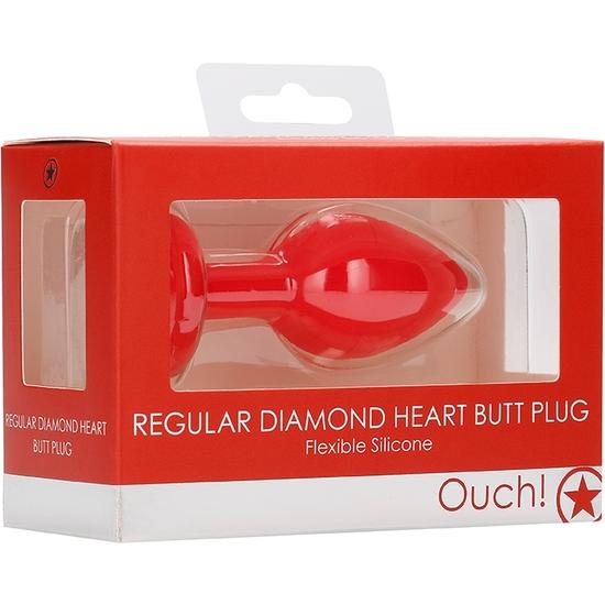 DIAMOND HEART BUTT PLUG - REGULAR - ROJO (2)